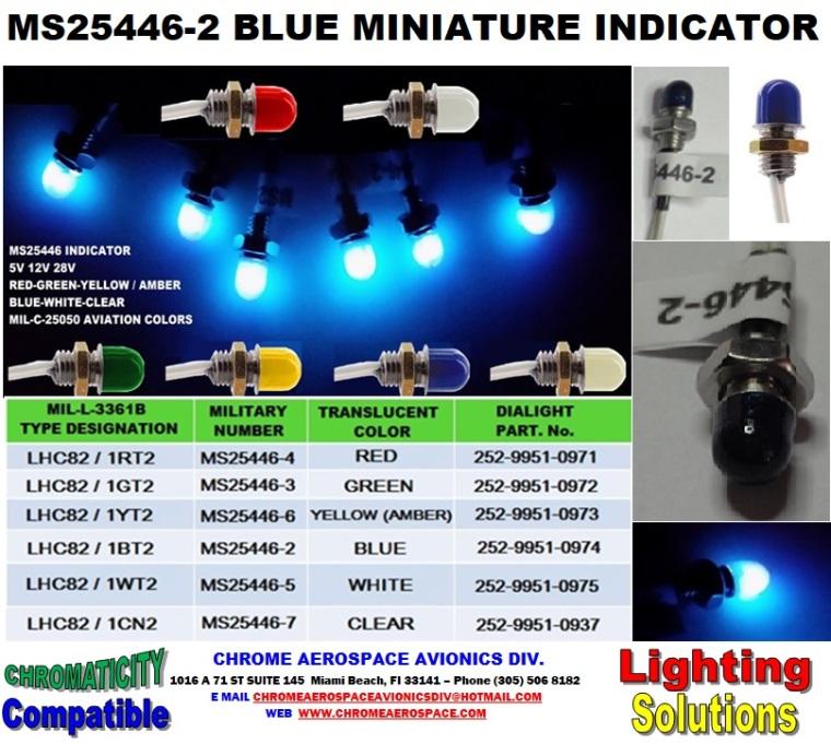 6 MS25446-2 BLUE MINIATURE INDICATOR 3-12-18
