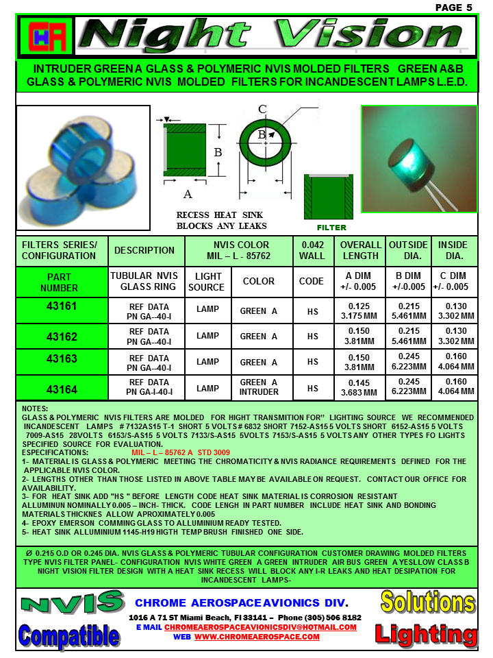 NIGHT VISION GLASS RING FILTERS.43000 NVIS SERIES FILTERS LAMP ASSY SERIES,43000 NVIS GLASS RING FILTERS SERIES ,GLASS NVIS RING FILTERS NVIS ASSEMBLIE 5VOLTS 14 VOLTS 28 VOLTS,GLASS RING FILTERS NVIS COLORS & LAMP ASSY T-I-T-1 SHORT,NVIS GLASS RING FILTERS ASSY 5V 14V 28V SERIES 43000 NVG/NVIS Glass Optical Filters for Incandescent Light Sources chrome aerospace avionics div NVIS glass filter material is designed specifically for incandescent lamps. Our standard and monolithic glass construction NVIS ring filters and NVIS flexible lead ring filter lamps (lamp/filter assemblies) offer reliable, rugged, and temperature resistant NVIS compliance in lighting applications where low wattage subminiature incandescent lamps are the preferred source of illumination. Our NVIS flexible lead ring filter lamps are constructed with aerospace-grade materials and best-in-class MIL-DTL-6363 military specification subminiature lamps. NVIS compatibility is typically achieved when the glass is molded with a wall thickness of 0.040 (1.0 mm). chrome aerospace NVIS glass filters and flexible lead ring filter lamps are supplied with polished surfaces inside and out for maximum light transmission.. nvis filter film nvis filter IPAD NVIS FILTER Nvg filter for iPad mini Nvis film 0.005 thickness