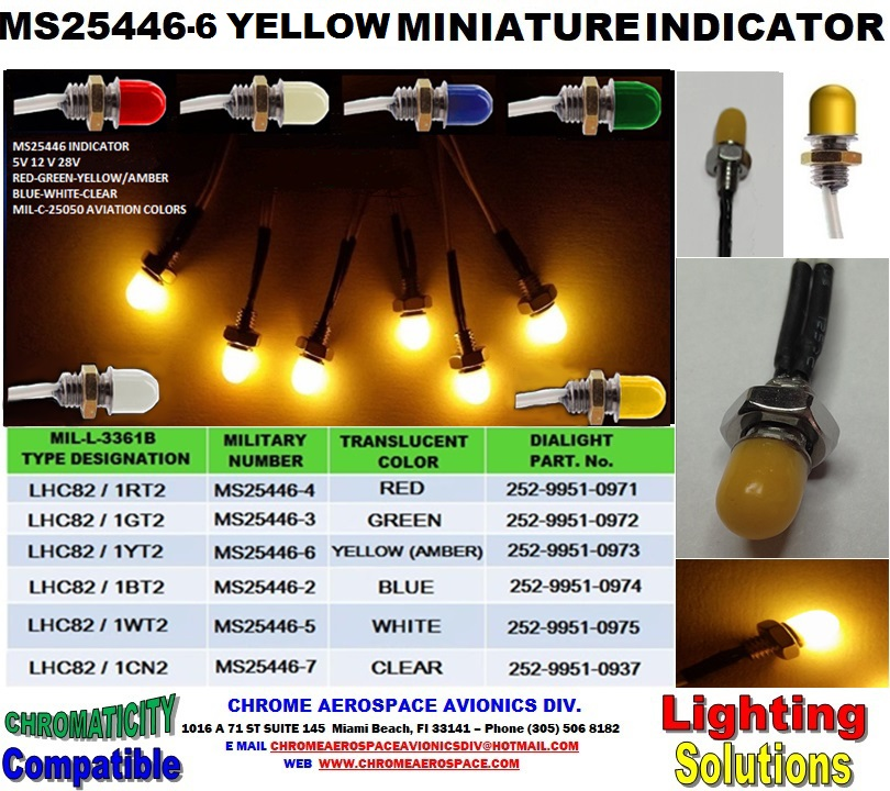 MS25446-6 YELLOW  MINIATURE INDICATOR MS25446-6 INDICATOR