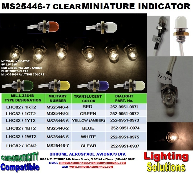 MS25446-7 CLEAR  MINIATURE INDICATOR  MS25446-7 INDICATOR