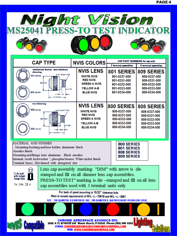 """DIALIGHT  MS25041 PRESS -TO- TEST INDICATOR GREEN A 850-1030-0001-504 DIALIGHT NVIS VERSION (NO) DIMMER   GREEN B 850-1030-0002-504 DIALIGHT NVIS VERSION (NO) DIMMER   800-1030-0331-504 Dialight  dialight 801-1030-03-504  socket DIALIGHT 800-1030-03-504 DIALIGHT  MS25041- dialight 850-0005 nvis indicator cap Nvis Green A Press-To-Test PMI Cap, Non-Dimming press to test indicator lights  800-1030-03-504 DIALIGHT 800103003504 DIALIGHT 800-1030-03-504 LENS HOLDER GREEN A 851-1030-0003-504 DIALIGHT NVIS VERSION     DIMMER    ASSEMBLY Nvis YELLOW CLASS A-B 850-1030-0003-504  YELLOW CLASS A – B 851-1030-0003-504 DIALIGHT NVIS VERSION     DIMMER    ASSEMBLY 851-1030-0003-504 DIALIGHT NVIS DIALIGHT 800-1030-0333-504 36884300111203, 36884300111203, 15/32, T-1 3/4 midget flange, 15/32"""" Red Incand. PMI Assembly, Red. 8000331500, 8000331500, 15/32, Non-Dimming, Red Press-To-Test PMI Cap, Non-Dimming, Red. 8000332500, 8000332500, 15/32, Non-Dimming,  Green Press-To-Test PMI Cap, Non-Dimming, Green. DIALIGHT NVIS VERSION (NO) DIMMER GREEN B 851-1030-0002-504 DIALIGHT NVIS VERSION     DIMMER    ASSEMBLY 850-0001 Nvis Indicator Cap   850-0002 nvis indicator cap 850-0003 nvis indicator cap  850-004-1030-0001-504 850-004-1030-0002-504 MS25041 nvis indicator MS25041 nvis indicator 850-004-1030-0003-504 MS25041 nvis indicator 850-1030-0001-504 MS25041- nvis indicator 801-0330-500  indicator  dialight Yellow (amber) Press‑To‑Test 850-1030-0003-504 MS25041 nvis indicator  851-1030-0001-504 MS25041  nvis indicator   800-0337-500  dialight   DIALIGHT  MS25041-1 PRESS- TO- TEST INDICATOR DIALIGHT  MS25041-2 PRESS- TO- TEST INDICATOR DIALIGHT  MS25041-3 PRESS- TO- TEST INDICATOR DIALIGHT  MS25041-4 PRESS- TO- TEST INDICATOR DIALIGHT  MS25041-5 PRESS- TO- TEST INDICATOR DIALIGHT  MS25041-6 PRESS- TO- TEST INDICATOR DIALIGHT  MS25041-7 PRESS- TO- TEST INDICATOR DIALIGHT  MS25041-8 PRESS- TO- TEST INDICATOR DIALIGHT  MS25041-10 PRESS- TO- TEST INDICATOR DIALIGHT  MS25041-11 PRESS- TO- TEST INDI"""