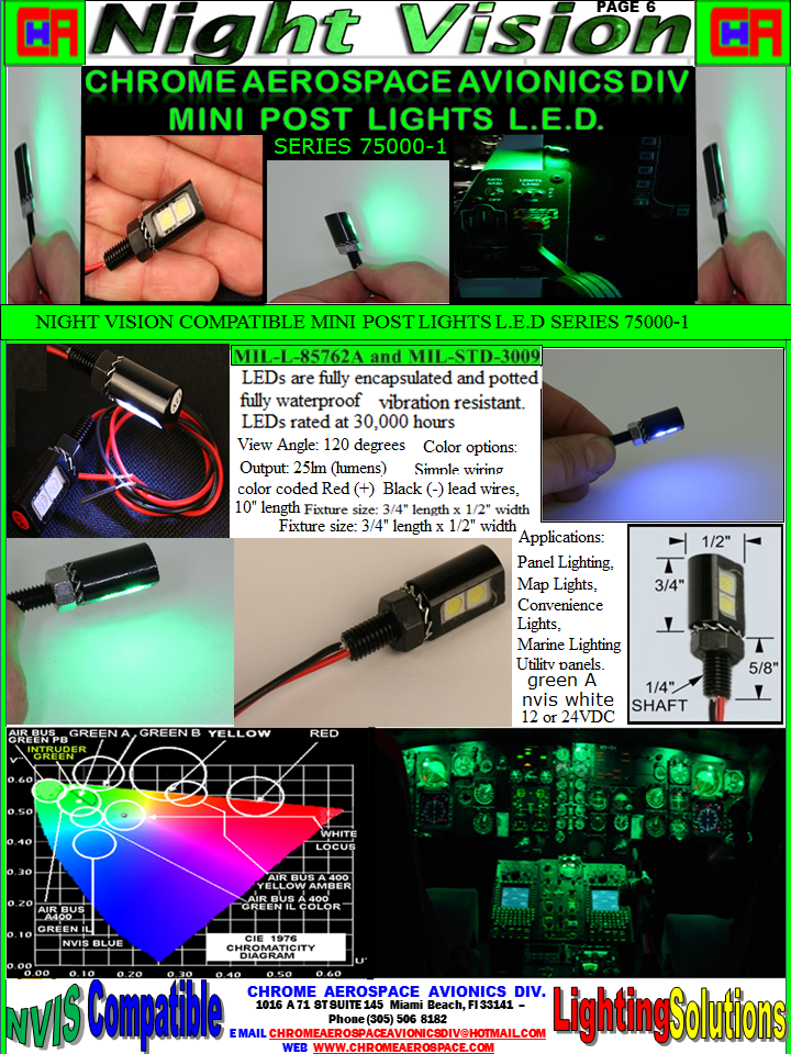 NVIS Post Light – chrome Aerospace avionics div