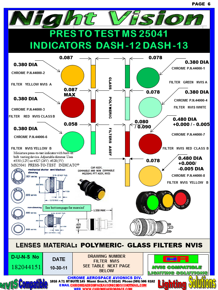 """DIALIGHT MS25041 PRESS -TO- TEST INDICATOR GREEN A 850-1030-0001-504 DIALIGHT NVIS VERSION (NO) DIMMER GREEN B 850-1030-0002-504 DIALIGHT NVIS VERSION (NO) DIMMER 800-1030-0331-504 Dialight dialight 801-1030-03-504 socket DIALIGHT 800-1030-03-504 DIALIGHT MS25041- dialight 850-0005 nvis indicator cap Nvis Green A Press-To-Test PMI Cap, Non-Dimming press to test indicator lights 800-1030-03-504 DIALIGHT 800103003504 DIALIGHT 800-1030-03-504 LENS HOLDER GREEN A 851-1030-0003-504 DIALIGHT NVIS VERSION DIMMER ASSEMBLY Nvis YELLOW CLASS A-B 850-1030-0003-504 YELLOW CLASS A – B 851-1030-0003-504 DIALIGHT NVIS VERSION DIMMER ASSEMBLY 851-1030-0003-504 DIALIGHT NVIS DIALIGHT 800-1030-0333-504 36884300111203, 36884300111203, 15/32, T-1 3/4 midget flange, 15/32"""" Red Incand. PMI Assembly, Red. 8000331500, 8000331500, 15/32, Non-Dimming, Red Press-To-Test PMI Cap, Non-Dimming, Red. 8000332500, 8000332500, 15/32, Non-Dimming, Green Press-To-Test PMI Cap, Non-Dimming, Green. DIALIGHT NVIS VERSION (NO) DIMMER GREEN B 851-1030-0002-504 DIALIGHT NVIS VERSION DIMMER ASSEMBLY 850-0001 Nvis Indicator Cap 850-0002 nvis indicator cap 850-0003 nvis indicator cap 850-004-1030-0001-504 850-004-1030-0002-504 MS25041 nvis indicator MS25041 nvis indicator 850-004-1030-0003-504 MS25041 nvis indicator 850-1030-0001-504 MS25041- nvis indicator 801-0330-500 indicator dialight Yellow (amber) Press‑To‑Test 850-1030-0003-504 MS25041 nvis indicator 851-1030-0001-504 MS25041 nvis indicator 800-0337-500 dialight DIALIGHT MS25041-1 PRESS- TO- TEST INDICATOR DIALIGHT MS25041-2 PRESS- TO- TEST INDICATOR DIALIGHT MS25041-3 PRESS- TO- TEST INDICATOR DIALIGHT MS25041-4 PRESS- TO- TEST INDICATOR DIALIGHT MS25041-5 PRESS- TO- TEST INDICATOR DIALIGHT MS25041-6 PRESS- TO- TEST INDICATOR DIALIGHT MS25041-7 PRESS- TO- TEST INDICATOR DIALIGHT MS25041-8 PRESS- TO- TEST INDICATOR DIALIGHT MS25041-10 PRESS- TO- TEST INDICATOR DIALIGHT MS25041-11 PRESS- TO- TEST INDICATOR DIALIGHT MS25041-12 PRESS- TO- TEST INDICATOR NV"""
