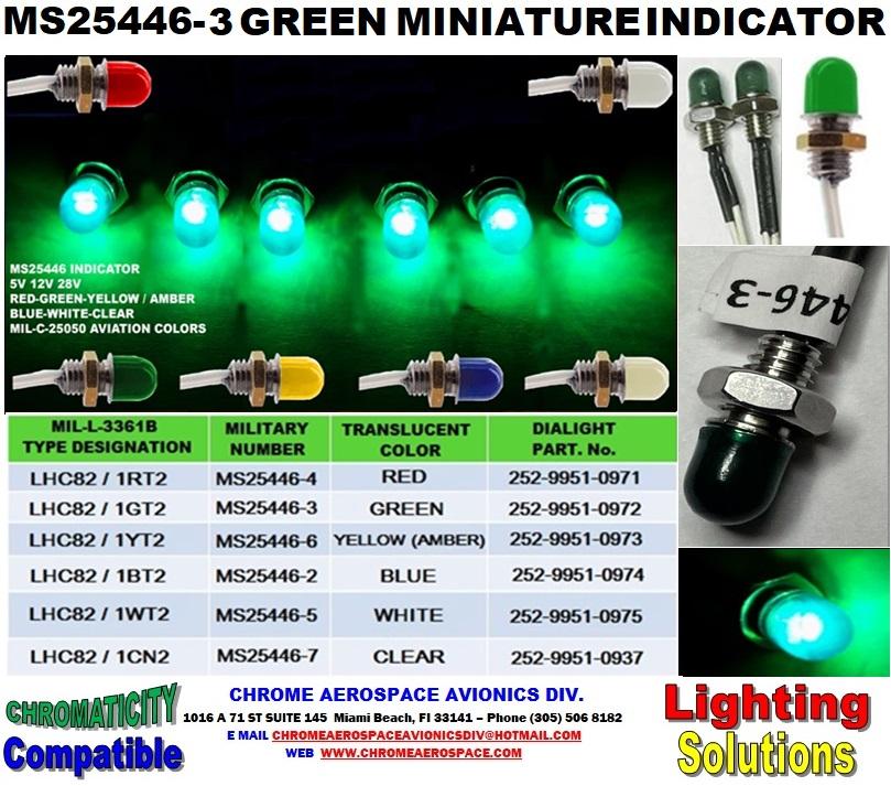 MS25446-3 GREEN MINIATURE INDICATOR MS25446-3 Dialight