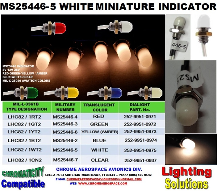 MS25446-5 WHITE MINIATURE INDICATOR  MS25446-5 Dialight