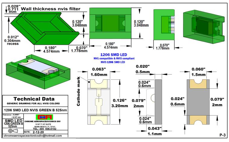 NIGHT VISION 1206 SMD LED GREEN B PCB 1206 SMD-PLCC LED NVIS GREEN B NM PCB