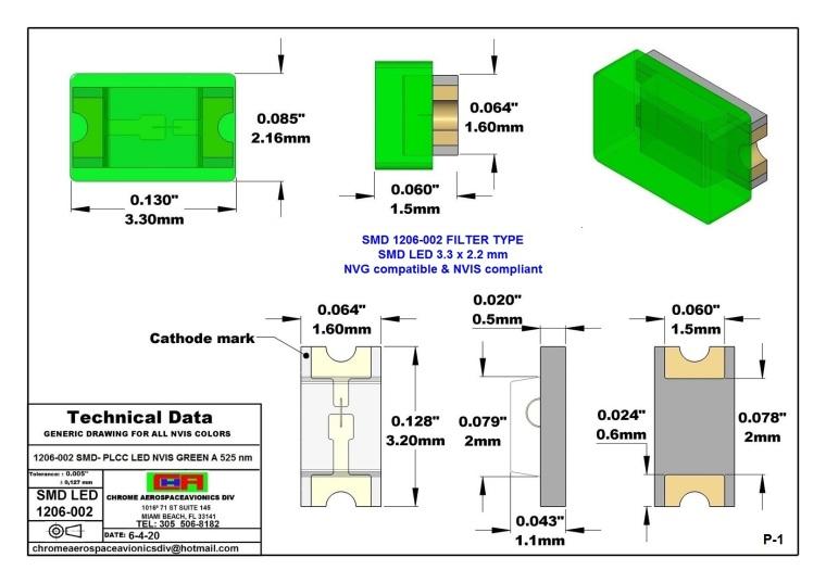 1206-002 SMD LED LIGHTS GREEN A 525NM PCB 1206-002 SMD-PLCC LED NVIS GREEN A 525 NM PCB