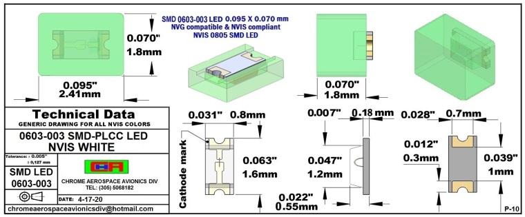 0603-003 SMD LED NVIS WHITE PCB     0603-003 SMD-PLCC LED NVIS WHITE PCB