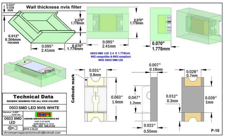 0603 SMD LED NVIS WHITE PCB 0603 SMD-PLCC LED NVIS WHITE PCB