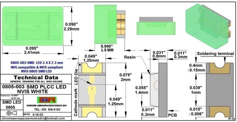 0805-003 SMD LED NVIS WHITE PCB 0805-003 SMD-PLCC LED NVIS WHITE PCB