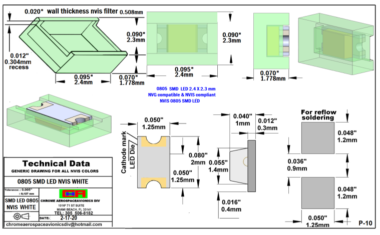 0805 SMD LED NVIS WHITE PCB  0805 SMD-PLCC LED NVIS WHITE PCB