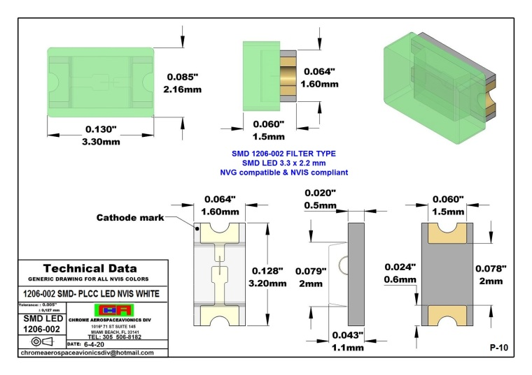 1206-002 SMD LED NVIS WHITE PCB 1206-002 SMD-PLCC LED NVIS WHITE PCB