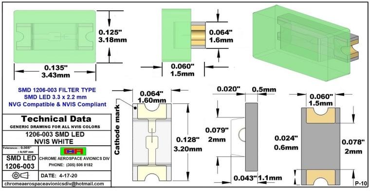 1206-003 SMD LED NVIS WHITE PCB  1206-003 SMD-PLCC LED NVIS WHITE PCB