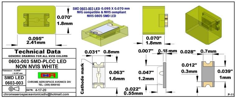 0603-003 SMD LED NVIS NON WHITE PCB 0603-003 SMD LED-PLCC LED NON NVIS WHITE PCB