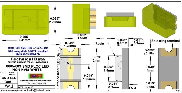 0805-003 SMD LED NVIS NON WHITE PCB 0805-003 SMD LED-PLCC LED NON NVIS WHITE PCB
