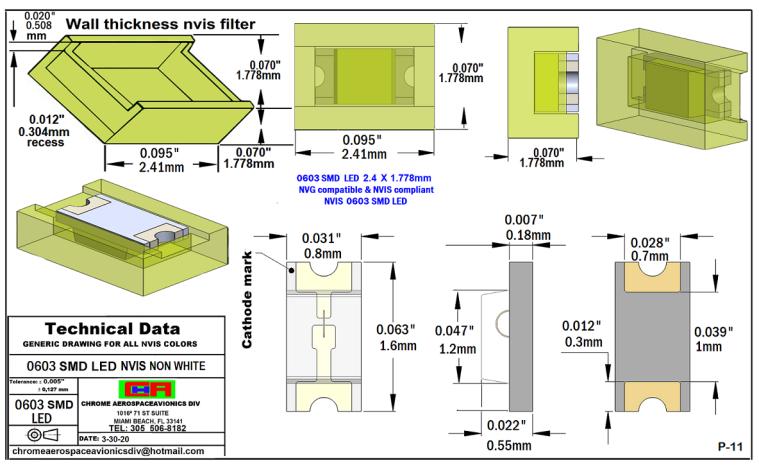 0603 SMD LED NVIS NON-WHITE PCB 0603 SMD-PLCC LED NON NVIS WHITE PCB