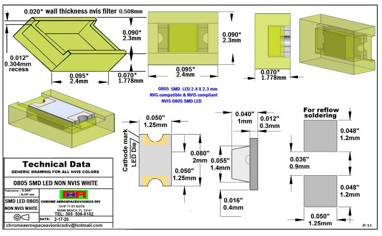 0805 SMD LED NVIS NON-WHITE PCB 0805 SMD-PLCC LED NON NVIS WHITE PCB