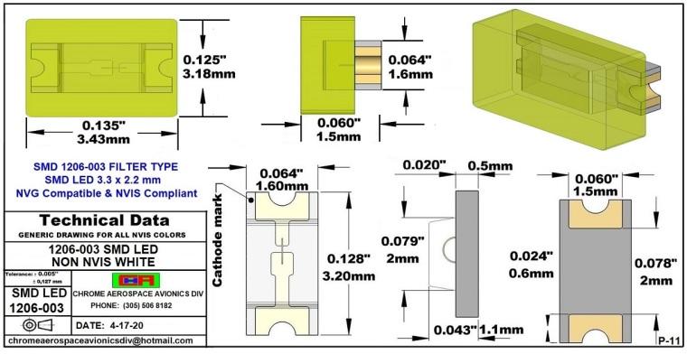 1206-003 SMD LED NVIS NON-WHITE PCB 1206-003 SMD LED-PLCC LED NON NVIS WHITE PCB