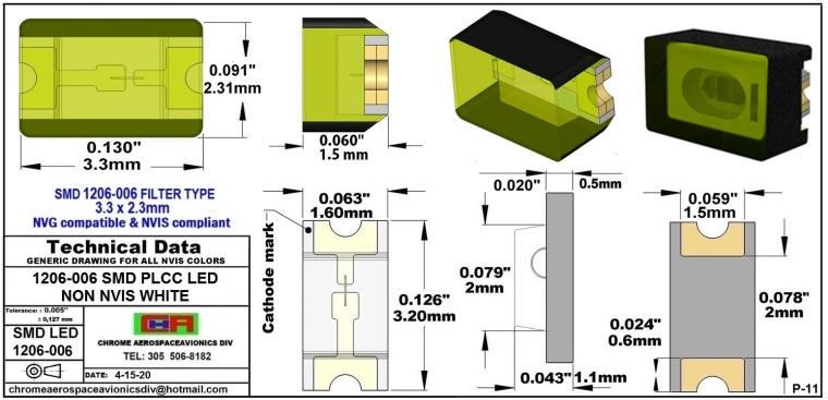 1206-006 SMD LED NVIS NON-WHITE PCB 1206-006 SMD LED-PLCC LED NON NVIS WHITE PCB