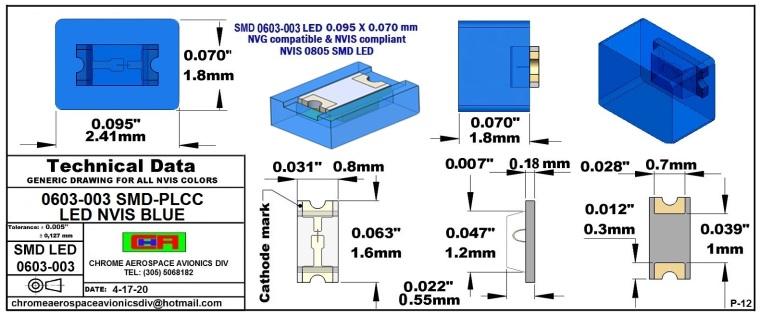 0603-003 SMD LED NVIS BLUE PCB 0603-003 SMD LED-PLCC LED NVIS BLUE PCB