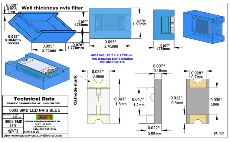 NVIS 0603 SMD LED NVIS BLUE PCB  0603 SMD-PLCC LED NVIS BLUE PCB