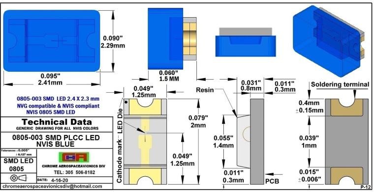 0805-003 SMD LED NVIS BLUE PCB 0805-003 SMD LED-PLCC LED NVIS BLUE PCB