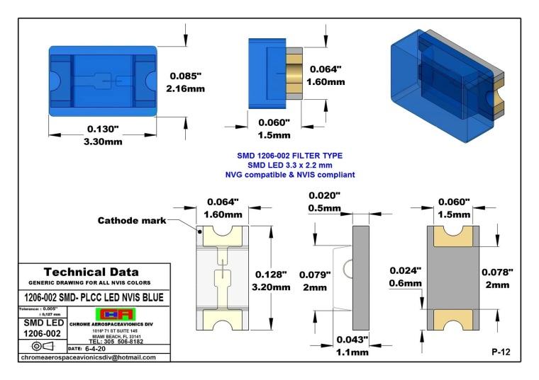 1206-002 SMD LED NVIS BLUE PCB 1206-002 SMD LED-PLCC LED NVIS BLUE PCB