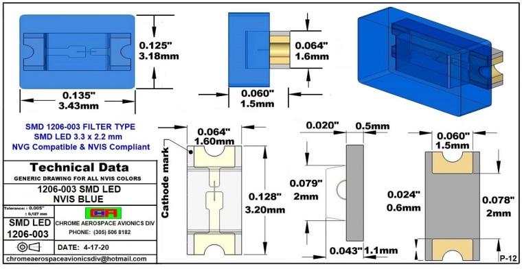 1206-003 SMD LED NVIS BLUE PCB 1206-003 SMD LED-PLCC LED NVIS BLUE PCB