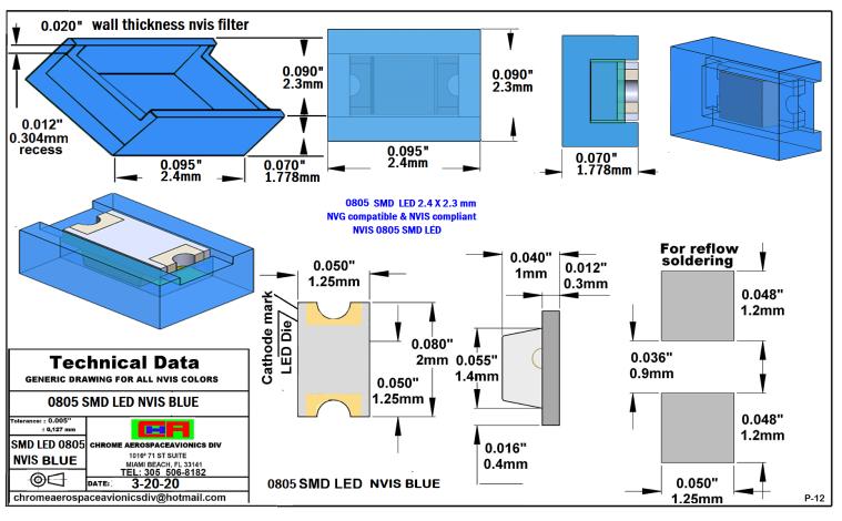 NVIS 0805 SMD LED NVIS BLUE PCB 0805 SMD-PLCC LED NVIS BLUE PCB