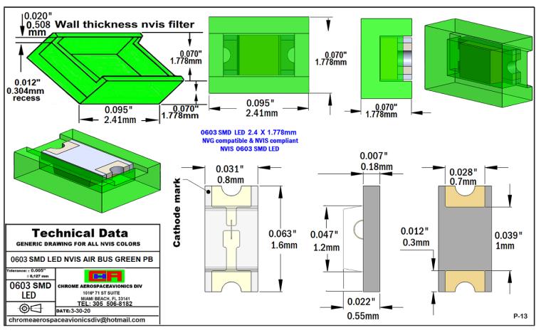 SMD 0603 NVIS AIR BUS GREEN BP PCB 0603 SMD-PLCC LED NVIS AIR BUS GREEN PB PCB