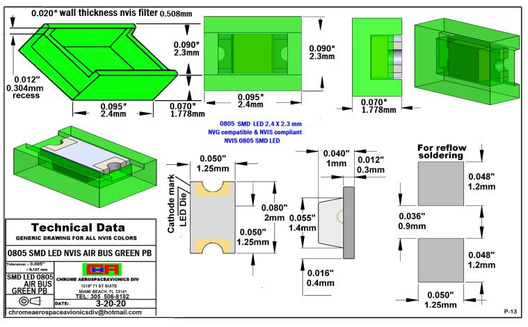SMD 0805 NVIS AIR BUS GREEN BP PCB 0805 SMD-PLCC LED NVIS AIR BUS GREEN PB PCB