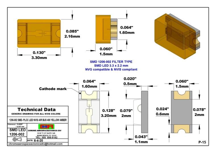 SMD 1206-002 AIR BUS A400 YELLOW AMBER PCB 1206-002 SMD-PLCC LED NVIS AIR BUS A 400 YELLOW AMBER PCB