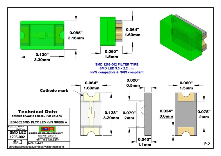 1206-002 SMD LED LIGHTS GREEN A PCB 1206-002 SMD LED-PLCC NVIS GREEN A PCB