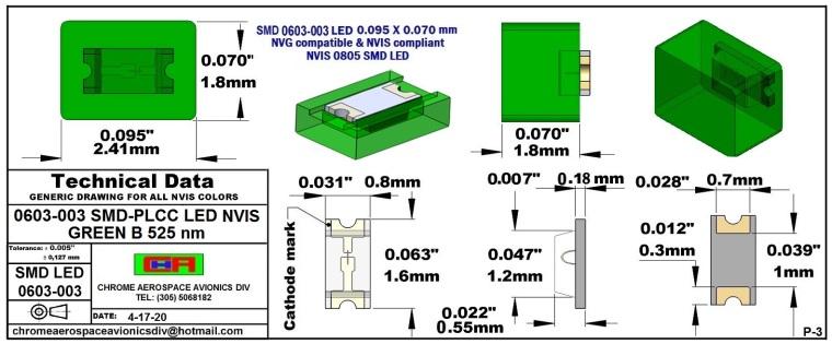 0603-003 SMD LED GREEN B PCB 0603-003 SMD-PLCC LED NVIS GREEN B NM PCB