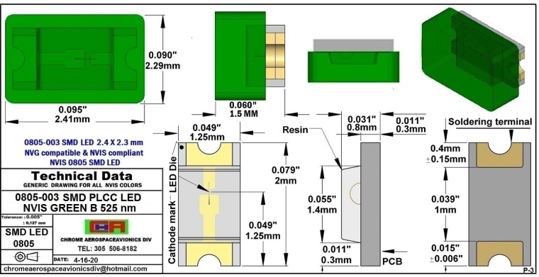 0805-003 SMD LED GREEN B PCB 0805-003 SMD-PLCC LED NVIS GREEN B NM PCB
