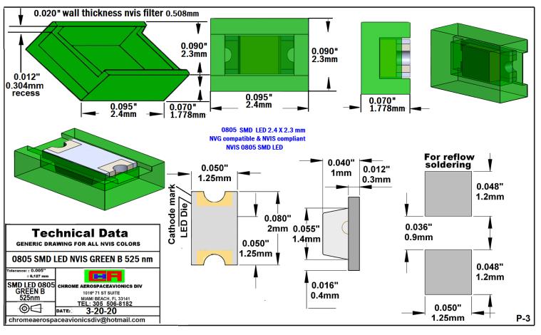 NIGHT VISION 0805 SMD LED GREEN B PCB  0805 SMD-PLCC LED NVIS GREEN B NM PCB