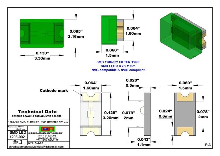 1206-002 SMD LED GREEN B PCB 1206-002 SMD-PLCC LED NVIS GREEN B NM PCB