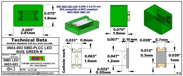 0603-003 SMD LED GREEN B PCB 0603-003 SMD-PLCC LED NVIS GREEN B PCB