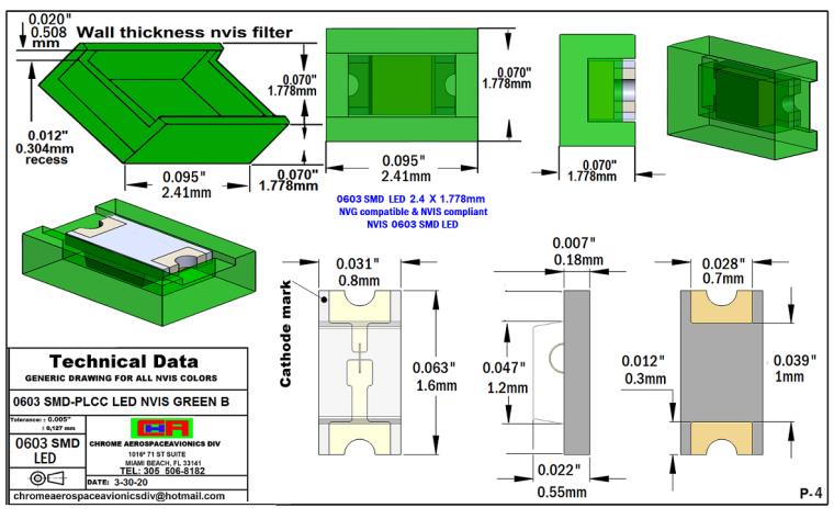 4 0603 SMD-PLCC LED NVIS GREEN B PCB 4-13-20
