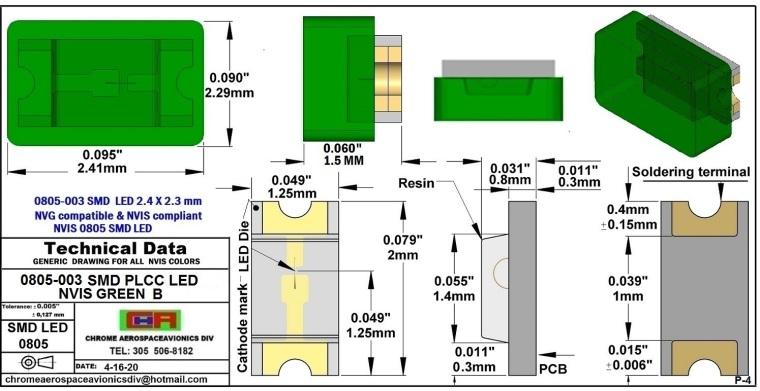 0805-003 SMD LED GREEN B PCB 0805-003 SMD-PLCC LED NVIS GREEN B PCB