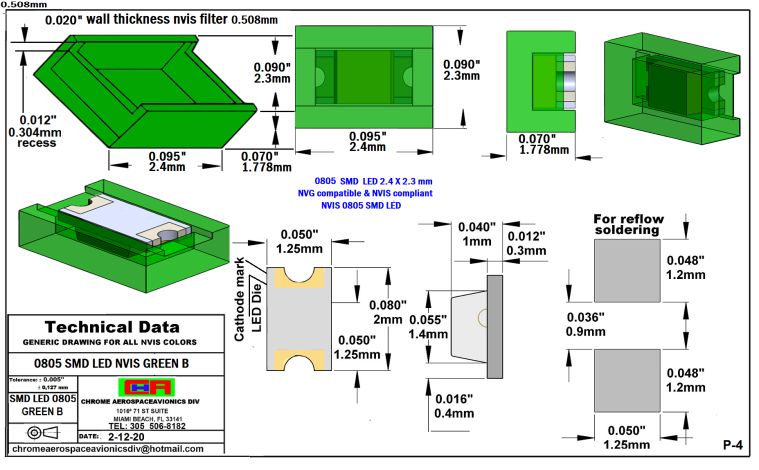 NIGHT VISION 0805 SMD LED GREEN B PCB  0805 SMD-PLCC LED NVIS GREEN B PCB