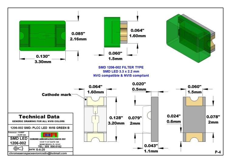 1206-002 SMD LED GREEN B PCB 1206-002 SMD-PLCC LED NVIS GREEN B PCB