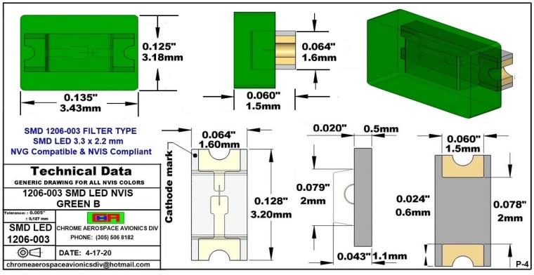 1206-003 SMD LED GREEN B PCB 1206-003 SMD-PLCC LED NVIS GREEN B PCB
