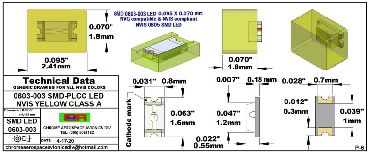 SMD 0603-003 NVIS YELLOW CLASS A PCB 0603-003 SMD-PLCC LED NVIS YELLOW CLASS A PCB