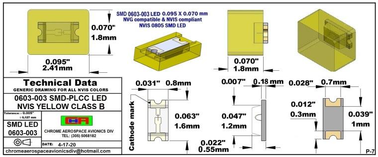 SMD 0603-003 NVIS YELLOW CLASS B PCB 0603-003 SMD-PLCC LED NVIS YELLOW CLASS B PCB