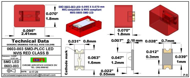 0603-003 SMD LED NVIS RED CLASS B PCB 0603-003 SMD LED-PLCC LED NVIS RED CLASS B PCB