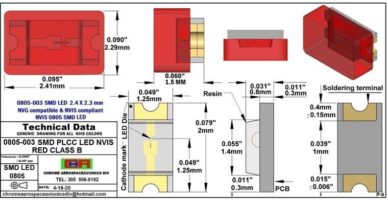 0805-003 SMD LED NVIS RED CLASS B PCB  0805-003 SMD LED-PLCC LED NVIS RED CLASS B PCB