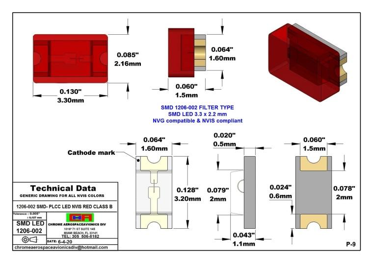 1206-002 SMD LED NVIS RED CLASS B PCB 1206-002 SMD LED-PLCC LED NVIS RED CLASS B PCB