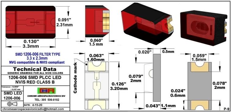 1206-006 SMD LED NVIS RED CLASS B PCB 1206-006 SMD LED-PLCC LED NVIS RED CLASS B PCB