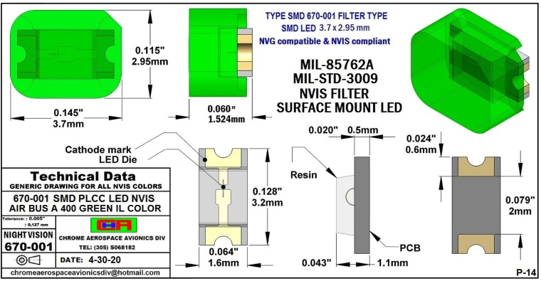 14 670-001 SMD- PLCC LED NVIS AIR BUS A400 GREEN IL COLOR  PCB 4-30-20.JPG